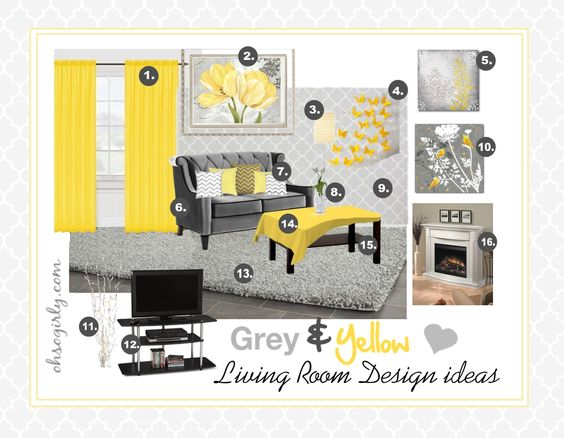 Yellow and grey living room interior design idea for Yellow and grey living room ideas