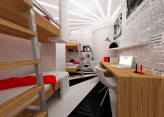 Galata hostel by udesign hostel interior design for Hostel room interior design ideas
