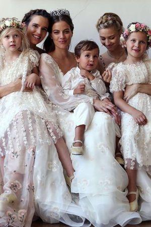 The wedding of Prince Franz Albrecht Oettingen-Spielberg and Baroness Cleopatra Von Adelsheim: the bride and bridesmaids (Princess Nora Oettingen-Spielberg and Beatrice Borromeo Casiraghi) wore Luisa Beccaria gowns
