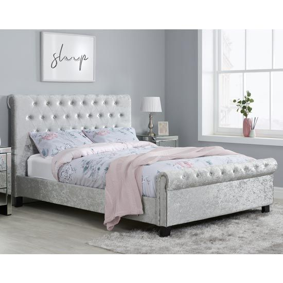 Sienna Fabric Small Double Bed In Steel Crushed Velvet In 2020