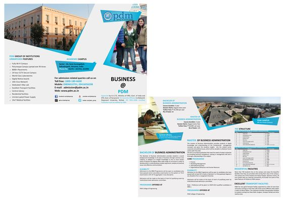 engineering college brochure design - pdm college of engineering business courses brochure