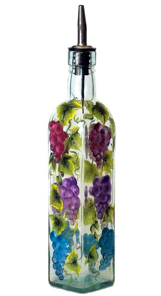 Hand Painted Grape Olive Oil Dispenser