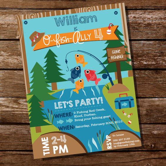 Gone Fishing Invitation - O-Fish-Ally Party Invite from SunshineParties on #Etsy #FishingPartyInvitation