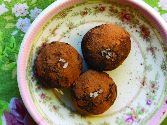 Chocolate and black pepper goat cheese truffles (would be a fun gag ...