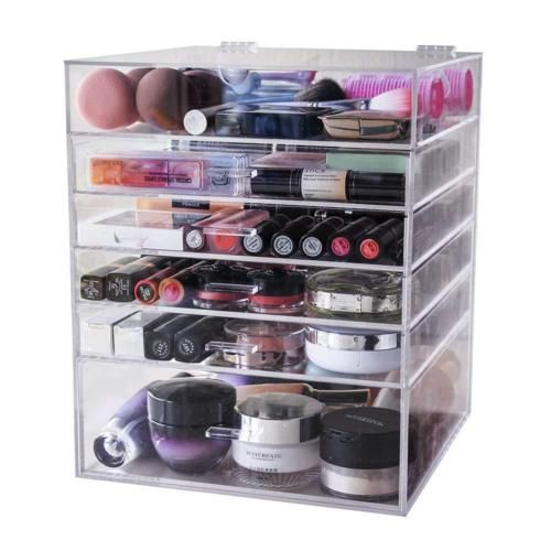 Red 20 pcs Acrylic Clear Ring Earrings Jewelry Storage Box Display Organizer Gift Case