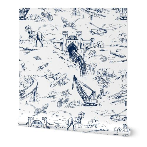 Colorful Fabrics Digitally Printed By Spoonflower Adventure Toile Midnight Navy Toile Wallpaper Wallpaper Self Adhesive Wallpaper