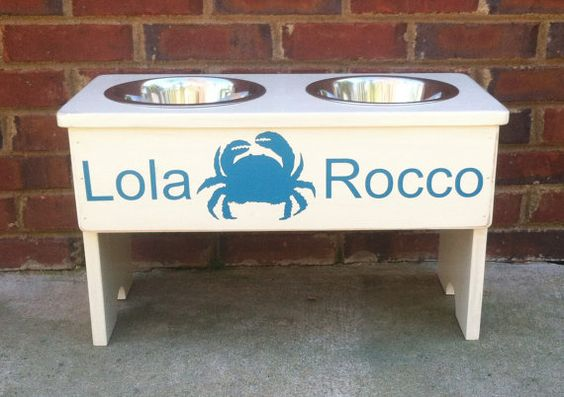 Vinyl Graphic Personalized Dog Feeder Shabby Stand -13 Tall - Two 2 Quart Bowls