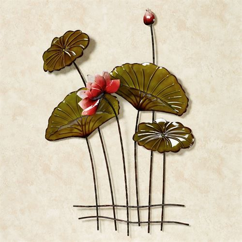 Lotus Flower and Lily Pad Metal Wall Decor Art