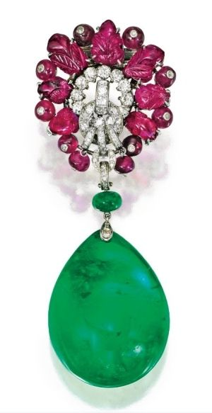 Platinum, Carved Ruby and Diamond Brooch, Cartier, London, With an Emerald Pendant by nadine