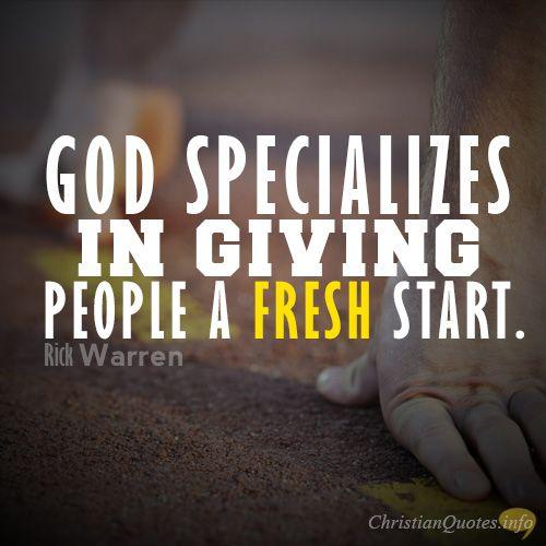 Daily Devotional - 3 Ways To Get A Fresh Start: Rick Warren #Christianquote