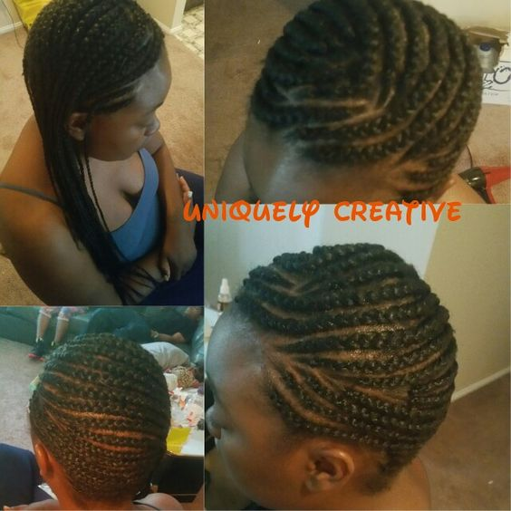 Cornrows to one side.