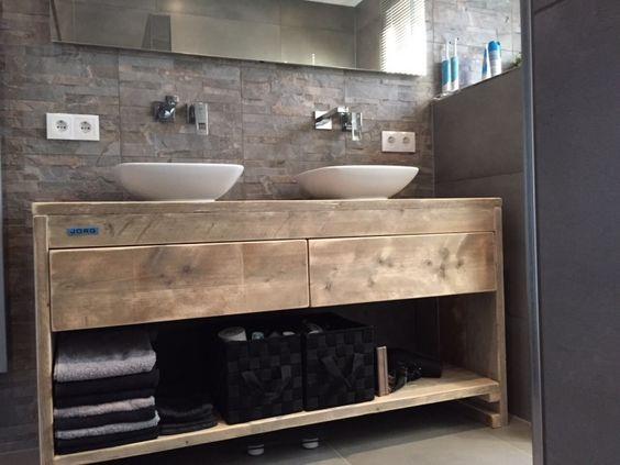 Renovatie Zolder Badkamer ~ Badkamermeubel van steigerhout met 2 lades naast elkaar (51220131130
