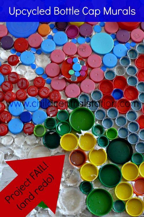 Bottle cap crafts mural reuse plastic bottles plastic for Bottle cap projects