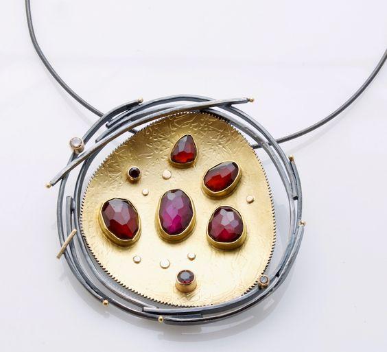 Sydney Lynch Garnet Nest pin/pendant: rose-cut garnets, cognac diamonds, oxidized silver, 18k & 22k gold. Pin is 2 1/4 inches wide: