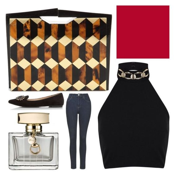 """""""Untitled #382"""" by celia-houston ❤ liked on Polyvore featuring Nathalie Trad, Miss Selfridge, Topshop, Dorothy Perkins, Gucci and Sally Hansen"""