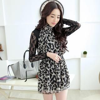 Buy 'JVL – Long-Sleeve Lace-Panel Leopard-Print Dress' with Free International Shipping at YesStyle.com. Browse and shop for thousands of Asian fashion items from China and more!