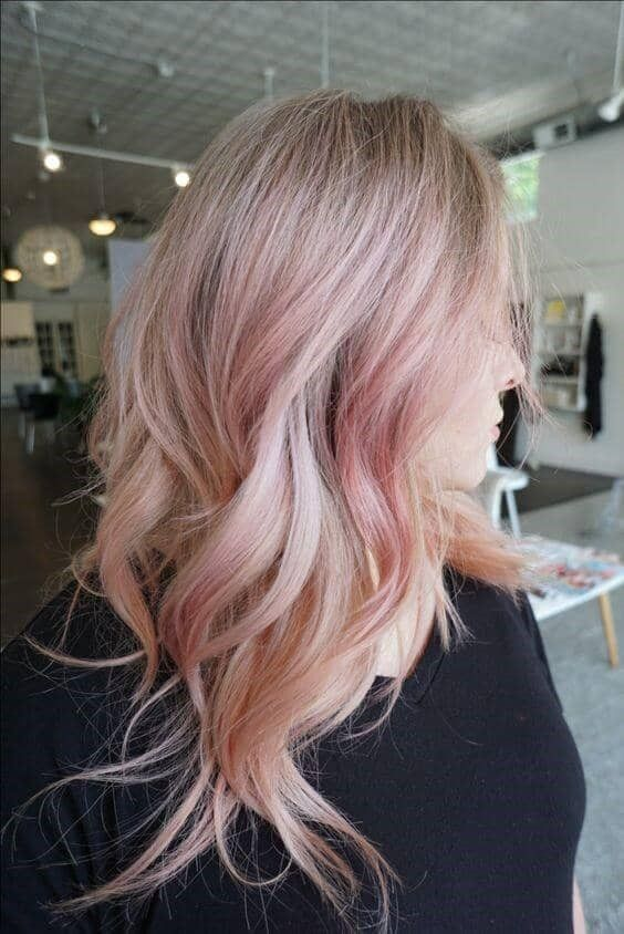 Dusty Rose Gold Crown Reverse Ombre Color Gold Blonde Hair