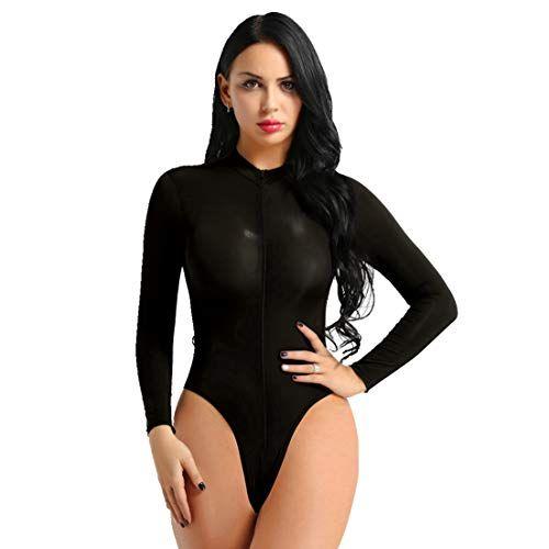 One Piece Womens Spandex Sheer Leotard Bodysuit High Cut Zippered Thong Lingerie
