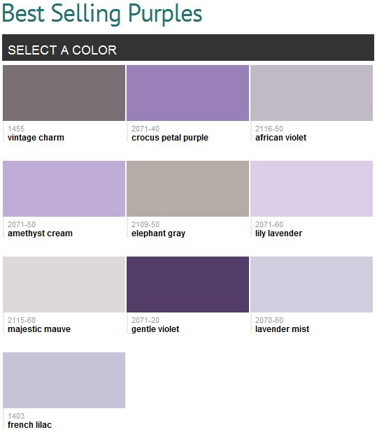 Best Selling Purples Benjamin Moore My Favorites Are
