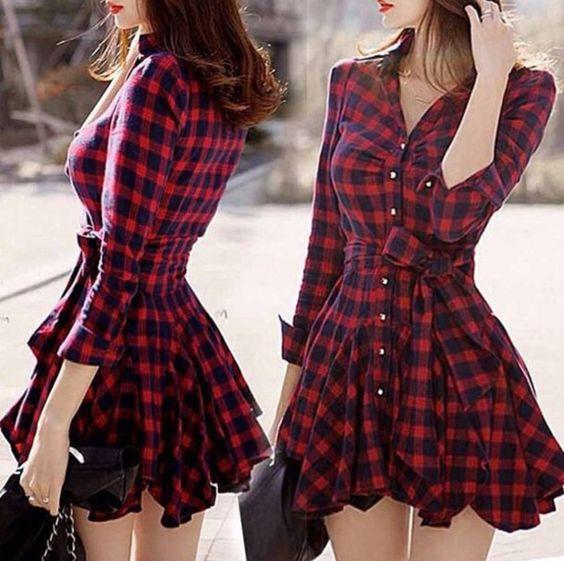 Robe courte veste a carreaux rouge et bleu fonce noir avec boutons > JAPAN ATTITUDE - VETROB204   Shop : www.japanattitude.fr
