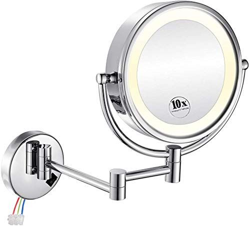 The Gurun 8 5 Inch Led Lighted Wall Mount Hardwired Makeup Mirror 10x Magnification Direct Wire Chrome Finish M1809d 10x Chrome Hardwire Online Shopping P In 2020 Makeup Mirror Wall Mounted Makeup Mirror