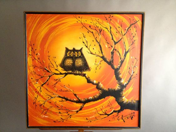 Super Large Lovebirds Midcentury OWLS Original by InteriorContent, $195.00