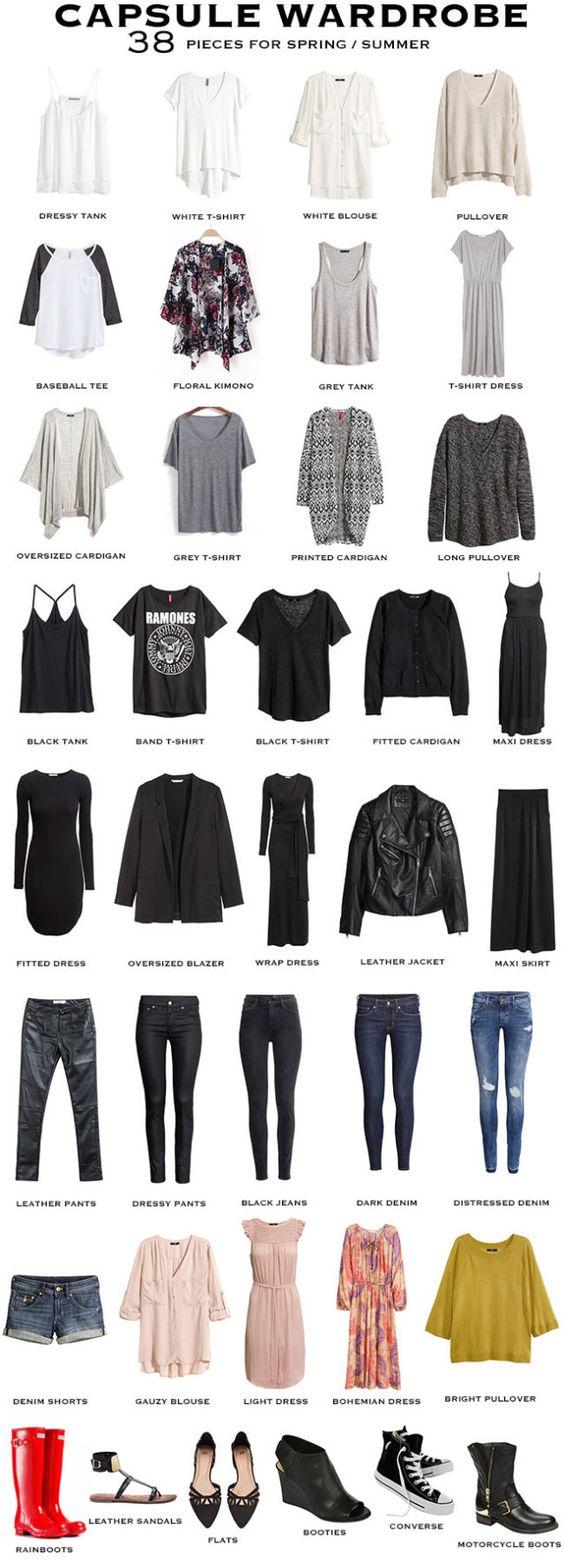 A 38 piece Capsule Wardrobe for Spring / Summer. #capsulewardrobe #capsule: