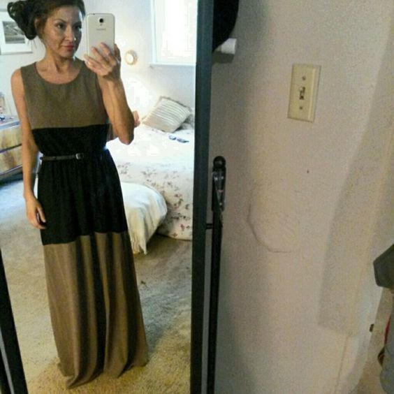 Tan and Black Backless Maxi Dress Sz. Small $28 obo Tan and Black Backless Maxi Dress. Didn't come with black belt originally, but I think it looks better with it so it's yours. Arden B Dresses Maxi