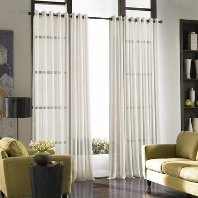 Charlton Home Mannino Solid Sheer Grommet Single Curtain Panel