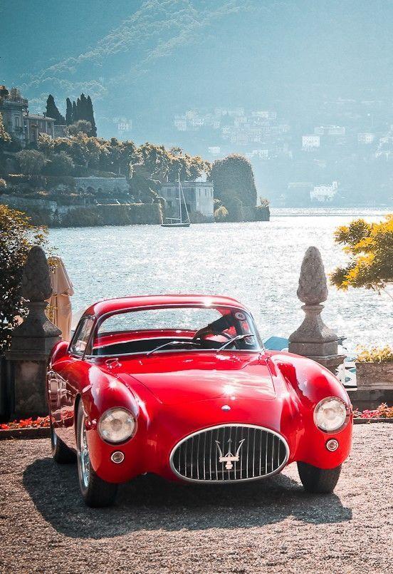 Maserati A6 gcs Berlinetta Mr socialite taking Ma'am Solicailte on a date around lake como
