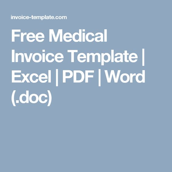 Free Medical Invoice Template  Excel  Pdf  Word Doc  Health