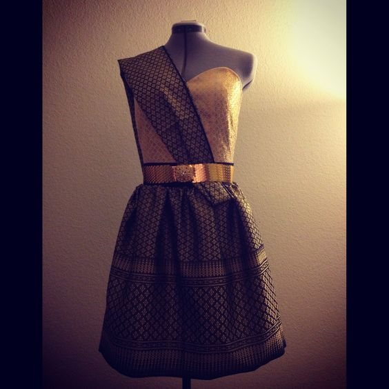 Black and Gold Thai full skirt outfit