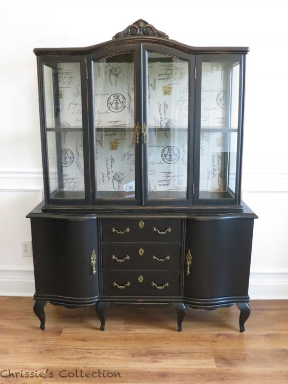Black painted china cabinet.