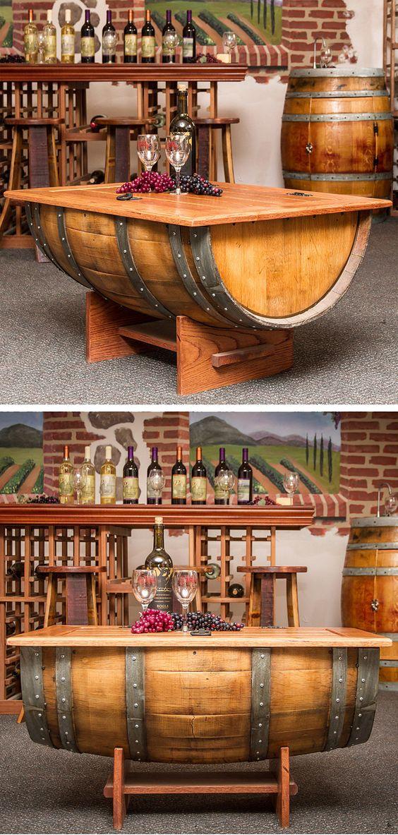 Wine barrel coffee table furniture design diy for Barrel cabin plans