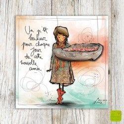 Carte de voeux « P'tit bonheur » illustrée par Myra Vienne