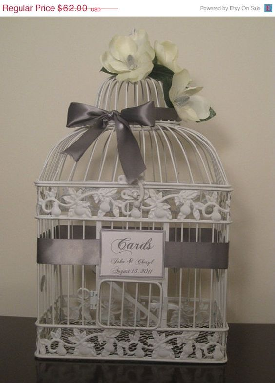 On Sale Bird Cage Wedding Card Box / Yellow / White Birdcage / Card Holder Spring Inspired.