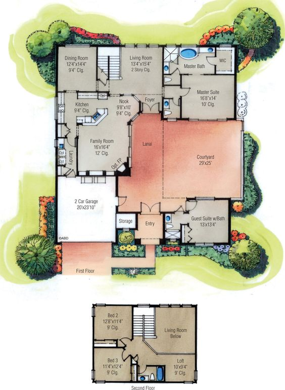 Courtyard house plans courtyard house and courtyards on for What is a courtyard garage