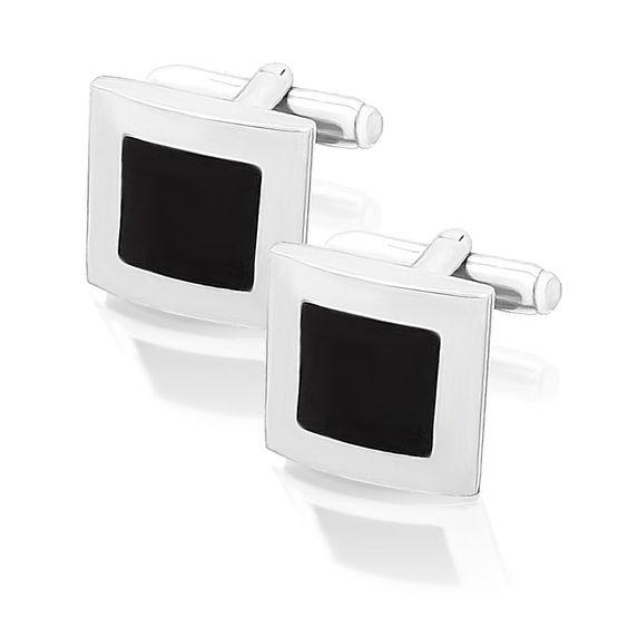 Zilverkleurige vierkante manchetknopen met een zwarte vierkantje.