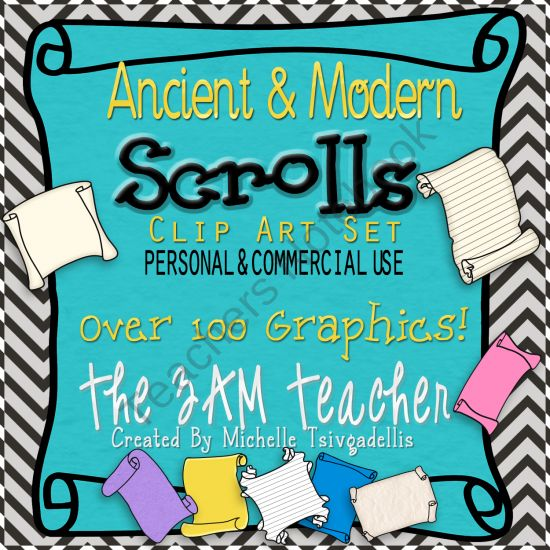 Ancient and Modern Scrolls: Clip Art Collection product from The-3AM-Teacher-Designs on TeachersNotebook.com