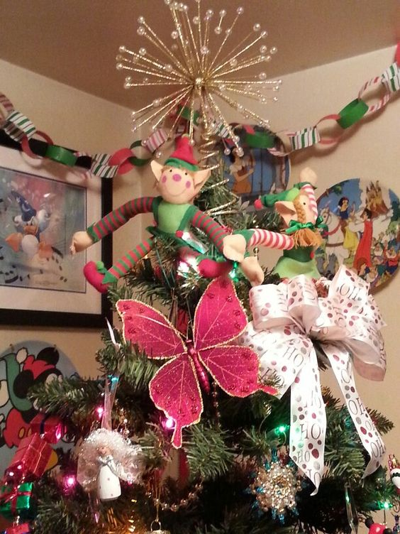 Elf themed Christmas tree detail shot
