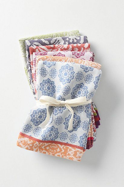 We use these cloth napkins for everyday use.  They wash up well, there is a different pattern and color for each person in the family...and they look great on the table.  Love these.