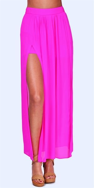 Jennifer Hope - Pleated Slit Maxi Skirt - Pop Pink   My Style ...