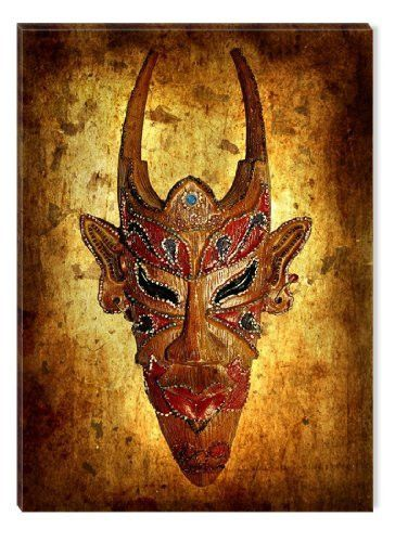Startonight Wall Art Canvas African Mask with Horns, African USA Design for Home Decor, Dual View Surprise Artwork Modern Framed Ready to Hang Wall Art 23.62 X 35.43 Inch 100% Original Art Painting!