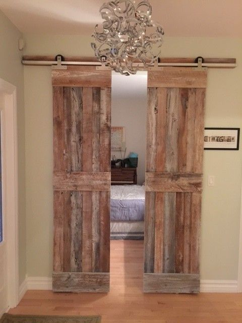 These doors opens up to the guest bedroom they are for Bedroom barn door hardware