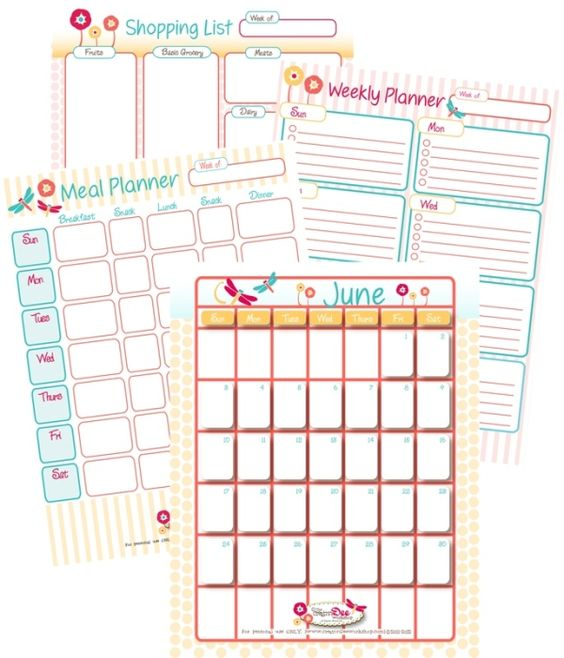 Home Management Printables for the month (includes June Calendar, Weekly Planner, Meal Planner, Shopping List) by leann