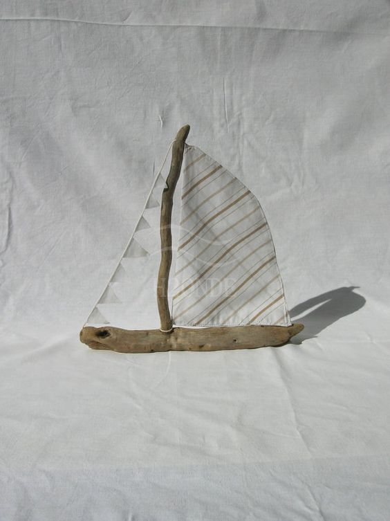 Sailboat driftwood cotton nautical decoration coastal by H2ONDE