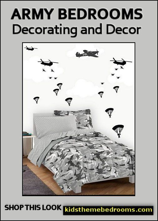 Us Army Camo Kids Room Decorating Ideas Military Planes Wall Decal Stickers Parachute Wall Decals Camo Bedding Cam Army Bedroom Camo Kids Room Camo Bedroom