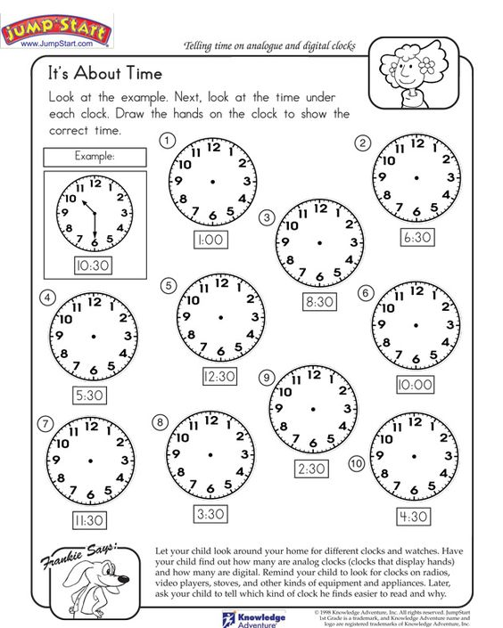 It's About Time - Online Time Worksheet for Kindergarten | math K ...