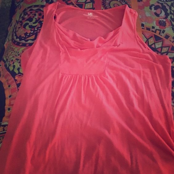 Coral Sleeveless Top with Draping Detail Coral Sleeveless Cotton/Rayon Top, a-line fit with draped detail on the front, size large and could fit XL. French Connection Tops Tank Tops