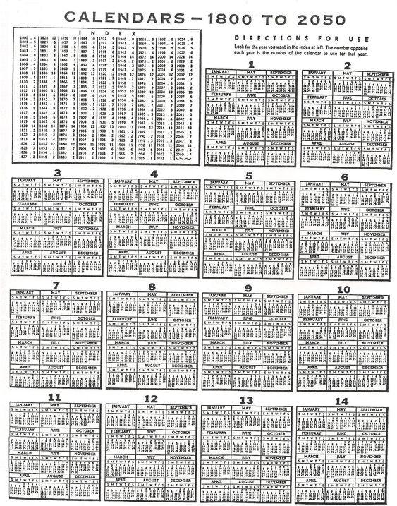 Perpetual Calendar Chart - Ex